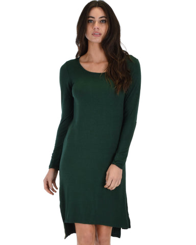 Lyss Loo Kiss The Moon Long Sleeve Olive Midi Dress - Clothing Showroom