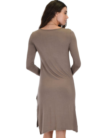 Lyss Loo Kiss The Moon Long Sleeve Taupe Midi Dress - Clothing Showroom