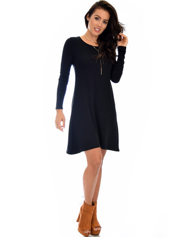 Lyss Loo Shift & Shout Long Sleeve Black Tunic Dress - Clothing Showroom