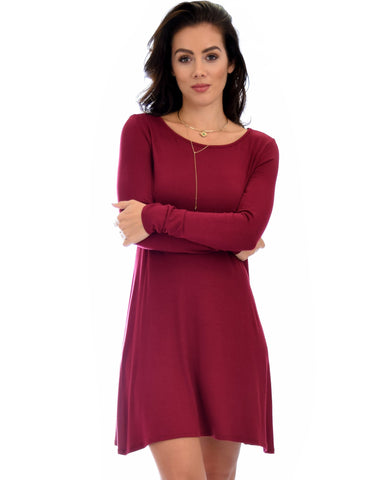 Lyss Loo Shift & Shout Long Sleeve Burgundy Tunic Dress - Clothing Showroom