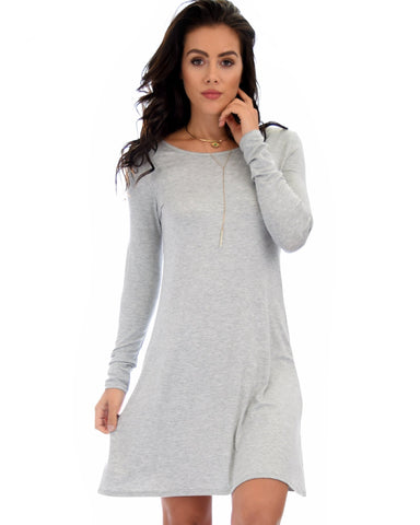 Lyss Loo Shift & Shout Long Sleeve Grey Tunic Dress - Clothing Showroom