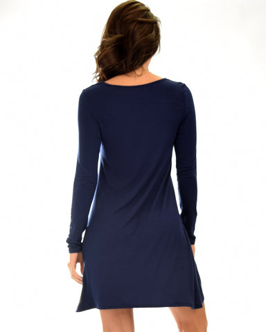 Lyss Loo Shift & Shout Long Sleeve Navy Tunic Dress - Clothing Showroom