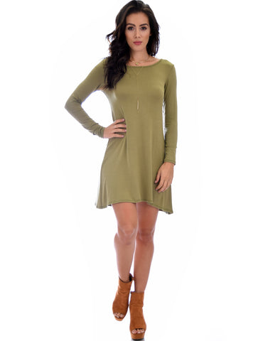 Lyss Loo Shift & Shout Long Sleeve Olive Tunic Dress - Clothing Showroom