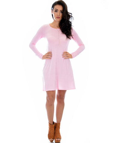 Lyss Loo Shift & Shout Long Sleeve Mauve Tunic Dress - Clothing Showroom