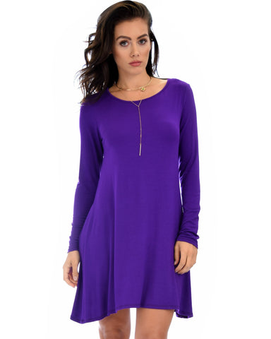 Lyss Loo Shift & Shout Long Sleeve Purple Tunic Dress - Clothing Showroom