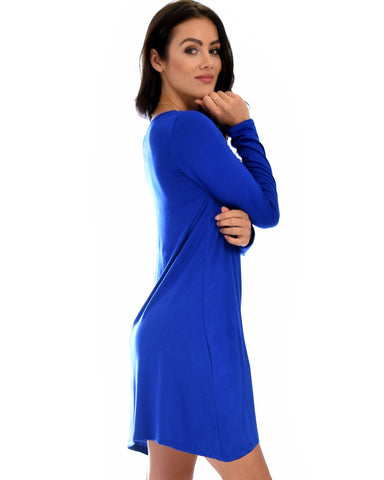 Lyss Loo Shift & Shout Long Sleeve Royal Tunic Dress - Clothing Showroom