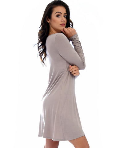 Lyss Loo Shift & Shout Long Sleeve Taupe Tunic Dress - Clothing Showroom
