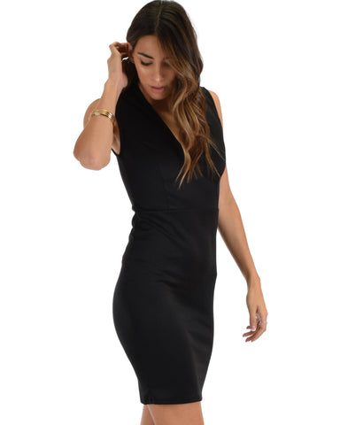 Lyss Loo Cocktail Hour V-Neck Black Bodycon Dress - Clothing Showroom