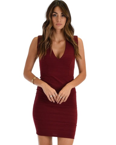 Lyss Loo Cocktail Hour V-Neck Burgundy Bodycon Dress - Clothing Showroom