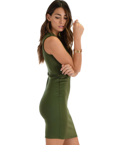 Lyss Loo Cocktail Hour V-Neck Olive Bodycon Dress - Clothing Showroom