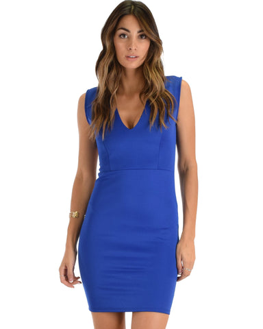 Lyss Loo Cocktail Hour V-Neck Royal Bodycon Dress - Clothing Showroom