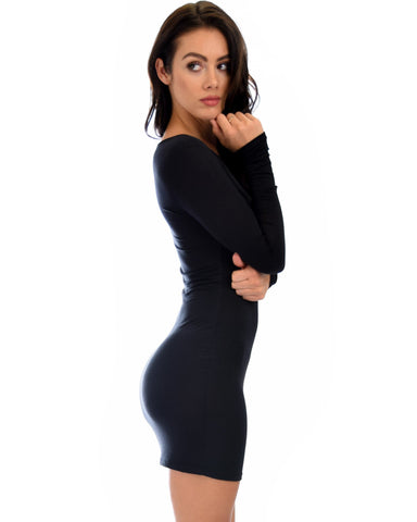 Lyss Loo Comeback Baby Long Sleeve Black Bodycon Dress - Clothing Showroom