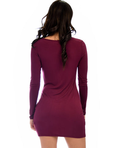 Lyss Loo Comeback Baby Long Sleeve Burgundy Bodycon Dress - Clothing Showroom