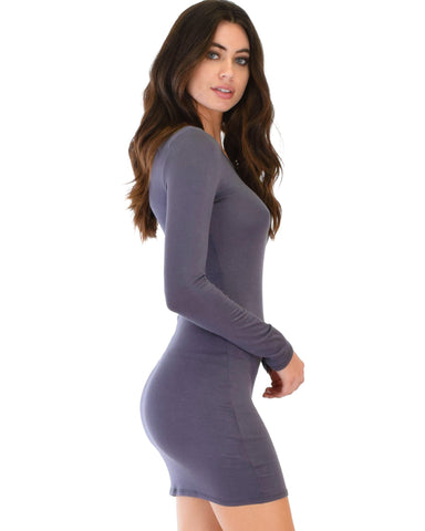 Lyss Loo Comeback Baby Long Sleeve Charcoal Bodycon Dress - Clothing Showroom