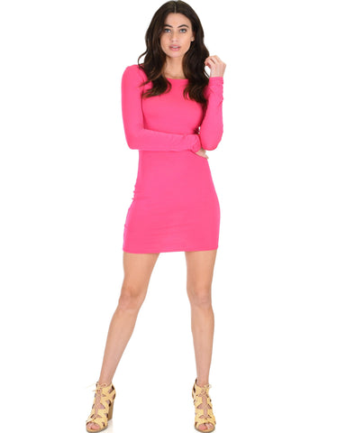 Lyss Loo Comeback Baby Long Sleeve Fuschia Bodycon Dress - Clothing Showroom