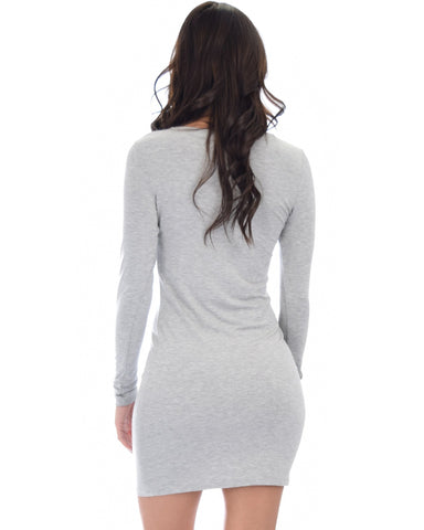 Lyss Loo Comeback Baby Long Sleeve Grey Bodycon Dress - Clothing Showroom