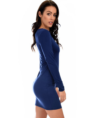Lyss Loo Comeback Baby Long Sleeve Navy Bodycon Dress - Clothing Showroom