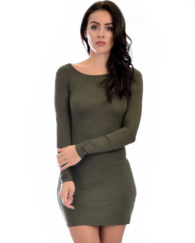 Lyss Loo Comeback Baby Long Sleeve Olive Bodycon Dress - Clothing Showroom