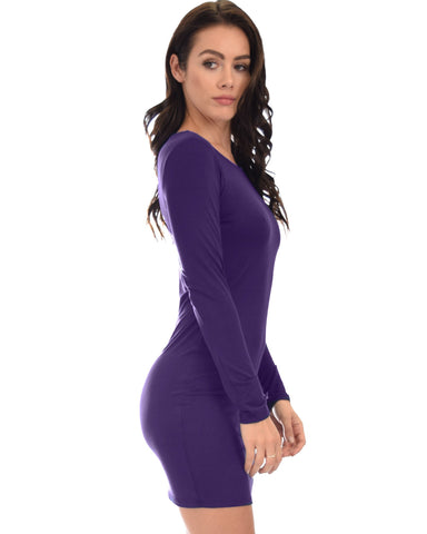 Lyss Loo Comeback Baby Long Sleeve Purple Bodycon Dress - Clothing Showroom
