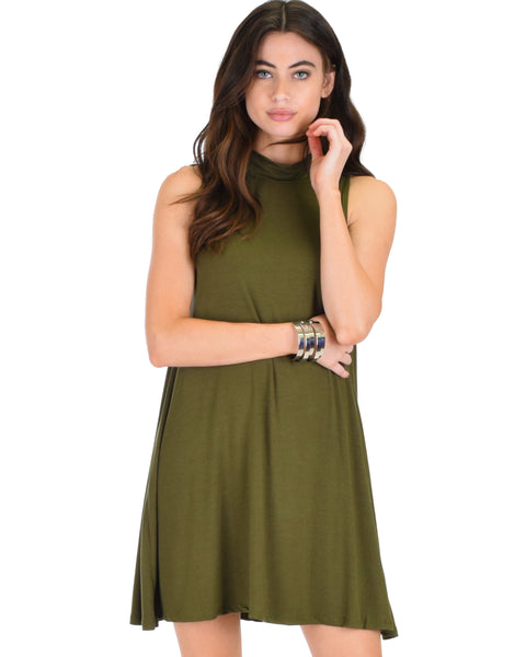 Lyss Loo Olivia Tank Olive Shift Dress - Clothing Showroom