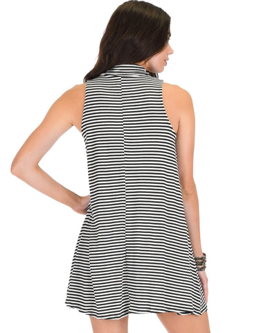 Lyss Loo Olivia Tank Striped Black Shift Dress - Clothing Showroom