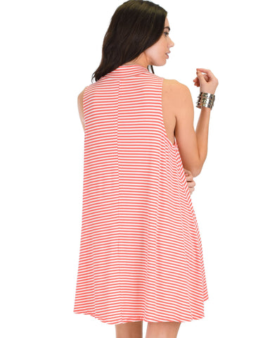 Lyss Loo Olivia Tank Striped Coral Shift Dress - Clothing Showroom