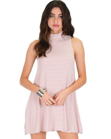 Lyss Loo Olivia Tank Striped Mauve Shift Dress - Clothing Showroom