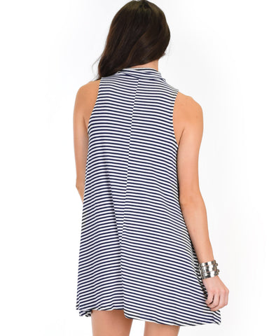 Lyss Loo Olivia Tank Striped Navy Shift Dress - Clothing Showroom