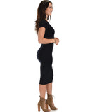Lyss Loo Along The Lines Bodycon Black Midi Dress - Clothing Showroom
