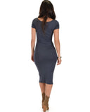 Lyss Loo Along The Lines Bodycon Charcoal Midi Dress - Clothing Showroom