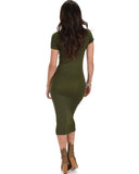 Lyss Loo Along The Lines Bodycon Olive Midi Dress - Clothing Showroom