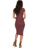 Lyss Loo Along The Lines Bodycon Marsala Midi Dress - Clothing Showroom
