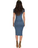 Lyss Loo Along The Lines Bodycon Teal Midi Dress - Clothing Showroom