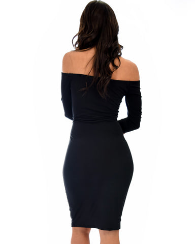 Lyss Loo Bold Move Off The Shoulder Bodycon Black Midi Dress - Clothing Showroom