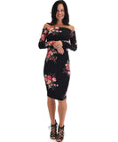Bold Move Off The Shoulder Floral Bodycon Midi Dress