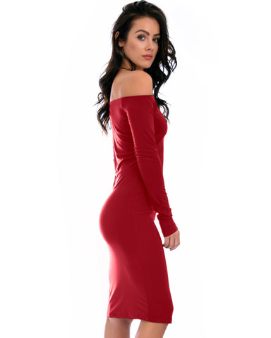 Lyss Loo Bold Move Off The Shoulder Bodycon Burgundy Midi Dress - Clothing Showroom