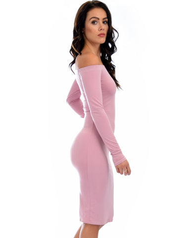 Lyss Loo Bold Move Off The Shoulder Bodycon Mauve Midi Dress - Clothing Showroom