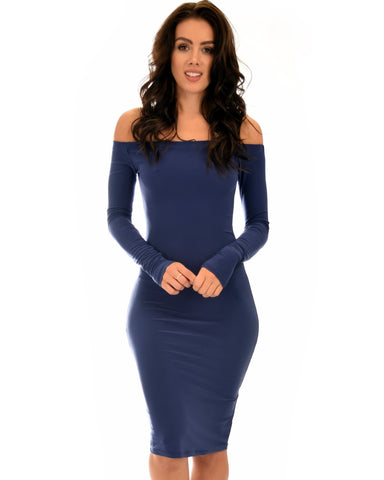 Lyss Loo Bold Move Off The Shoulder Bodycon Navy Midi Dress - Clothing Showroom