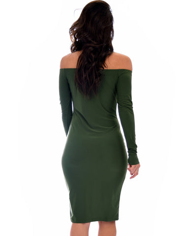 Lyss Loo Bold Move Off The Shoulder Bodycon Olive Midi Dress - Clothing Showroom