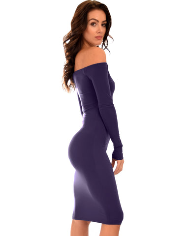 Lyss Loo Bold Move Off The Shoulder Bodycon Purple Midi Dress - Clothing Showroom