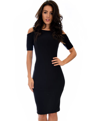Lyss Loo Love Me Completely Cold Shoulder Black Bodycon Midi Dress - Clothing Showroom