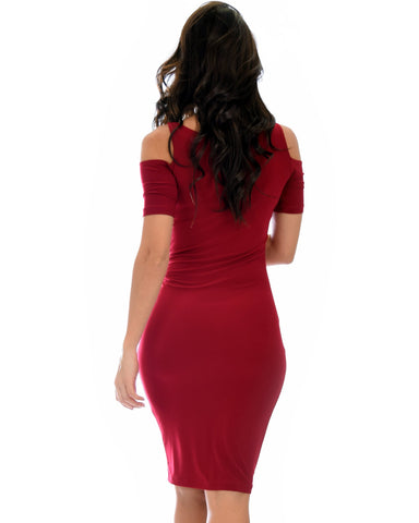 Lyss Loo Love Me Completely Cold Shoulder Burgundy Bodycon Midi Dress - Clothing Showroom