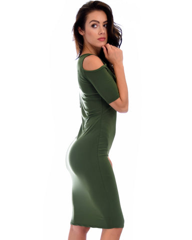 Lyss Loo Love Me Completely Cold Shoulder Olive Bodycon Midi Dress - Clothing Showroom