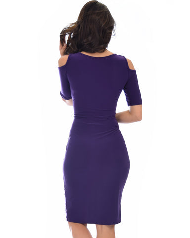 Lyss Loo Love Me Completely Cold Shoulder Purple Bodycon Midi Dress - Clothing Showroom