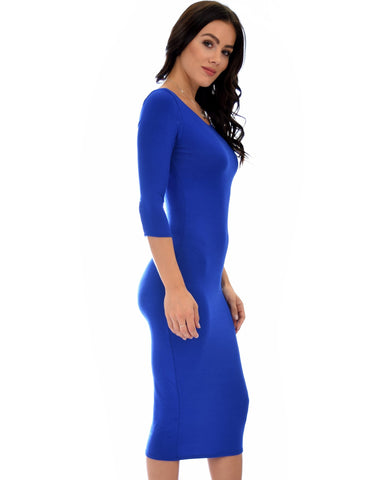 True 2 You 3/4 Sleeve Body-con Midi Dress