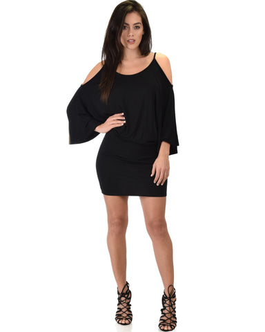Lyss Loo Game Changer Cold Shoulder Black Dolman Dress - Clothing Showroom