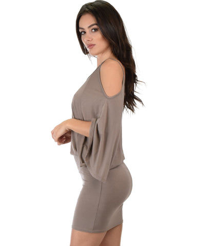 Lyss Loo Game Changer Cold Shoulder Taupe Dolman Dress - Clothing Showroom