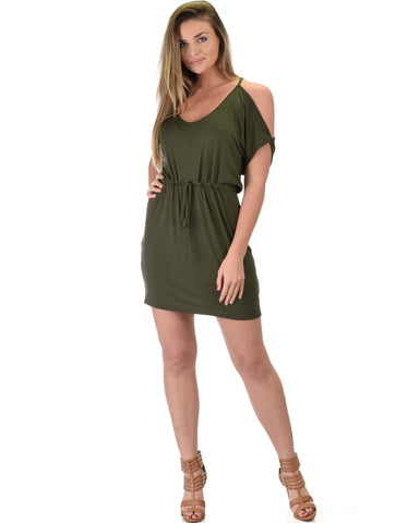 Lyss Loo Good Deeds Cold Shoulder Olive Waist Tie Dress - Clothing Showroom