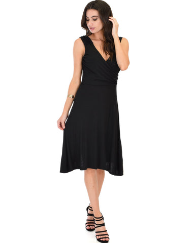 Lyss Loo Little Lover Ruched Black Skater Dress - Clothing Showroom