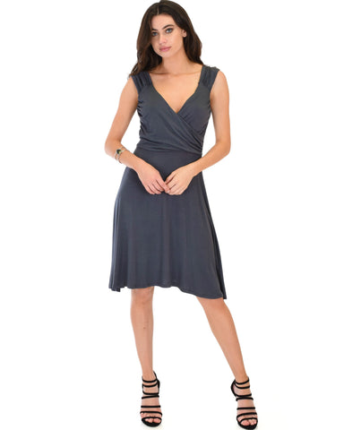 Lyss Loo Little Lover Ruched Charcoal Skater Dress - Clothing Showroom